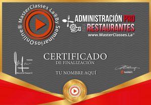 Certificado Administración Pro para Restaurantes