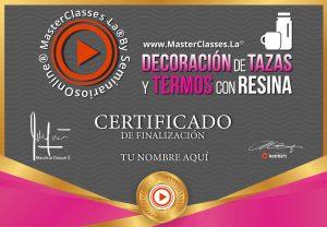 Curso Decoración de Tazas y Termos con Resina certificado